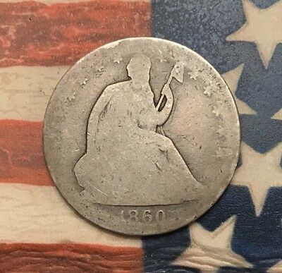 1860 50C Seated Liberty Half Dollar 90% Silver Vintage US Coin HW7 Rare Key Date