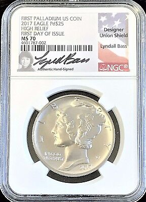 2017 $25 1 oz Palladium Eagle NGC MS 70 FIRST DAY OF ISSUE HAND SIGNED LABEL