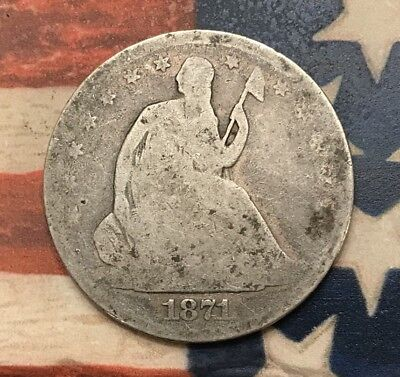 1871 50C Seated Liberty Half Dollar 90% Silver Vintage US Coin #HW8
