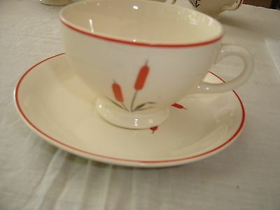 Universal Potteries Cambridge Cattails Footed Cup and Saucer 8457