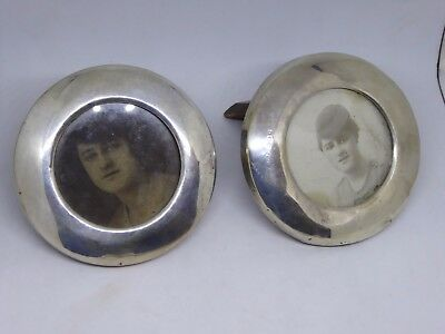 Pair of Hallmarked Silver Rimmed Circular Picture Frames - London 1929