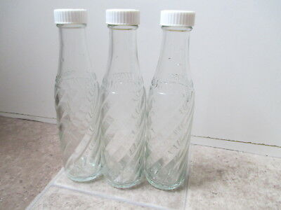 Vintage spiral glass Soda stream bottles x3 vgc with branded tops