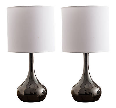 Kings Brand Gun Finish Metal / White Fabric Shade Table Lamps, Set of 2