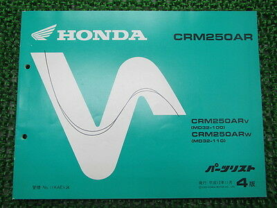 HONDA Genuine Used Motorcycle Parts List CRM250AR Edition 4 MD32