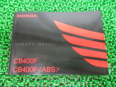 HONDA Genuine Used Motorcycle Instruction Manual CB400F ABS NC47
