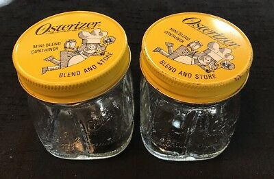 Vintage Oster Osterizer Mini Blend & Store Glass Jar Containers W/Lids~Set Of 2