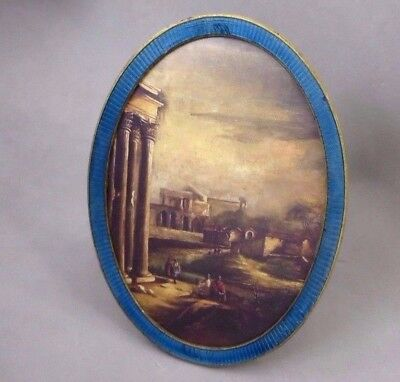 Antique French Oval Gilt Tin Metal Guilloche  Enamel Picture Photo Frame