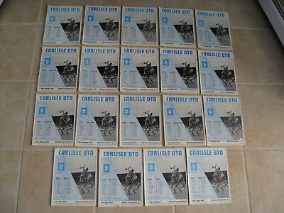 CARLISLE UNITED . 19 HOME MATCH PROGRAMMES 1971-1972 . Division 2 . see details
