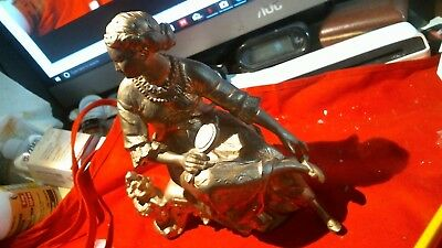 "Antique Pot Metal Sitting Woman with mirror Statue 7"" Tall"