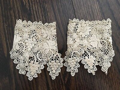 Vintage Fine Irish Crochet Lace Cuffs Floral Pointed Antique Boho