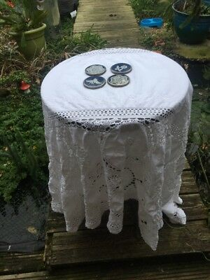 Vintage Lace Table Cloth And Lace Coasters