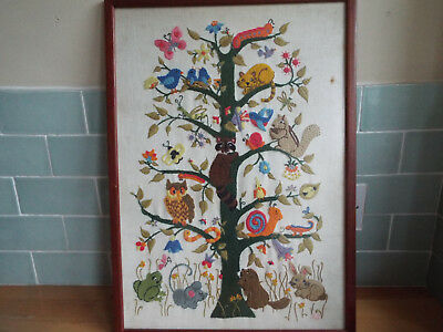 Delightful vintage embroidered picture of animals (called Tree of Life)
