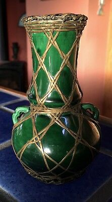 Awaji Japanese Green Vase with Bronze Bamboo Wire Work and Handles Antique