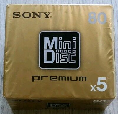 LOTE PACK x5 SONY MINIDISC 80 MINUTOS PREMIUM GOLD • NEW AND SEALED