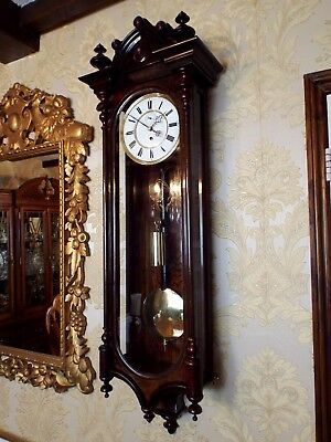 Antique 1 weight Vienna regulator wall clock rosewood