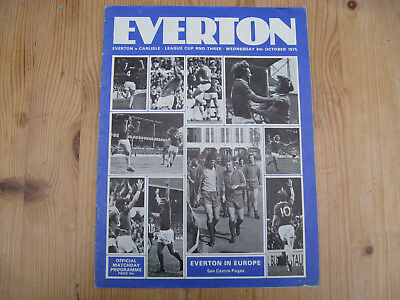 Everton V Carlisle United . League Cup Programme . Goodison Park 8.10.1975