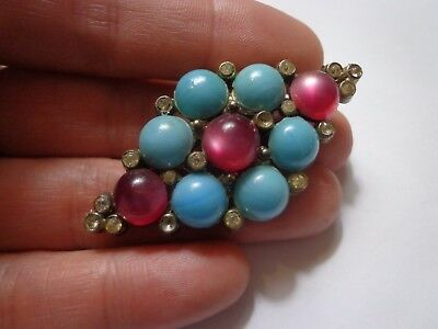 Antique Victorian Art Deco Turquoise Pink Brooch As Is