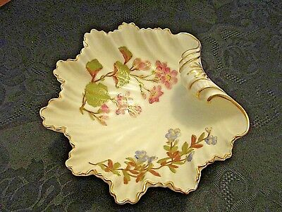 Antique 1867 Royal Worcester Shell Dish Bowl Hand Painted Gold Signed Euc