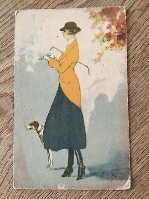 Postcard glamorous lady with walking cane and dog  glamour