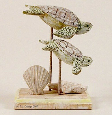 Coastal Art Designs Hand Carved Wood Antique Washed Sea Turtle Pair Sculpture