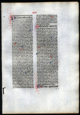 540 Yr Old Incunable Leaf Commentary Sentences of Peter Lombard, Bishop of Paris