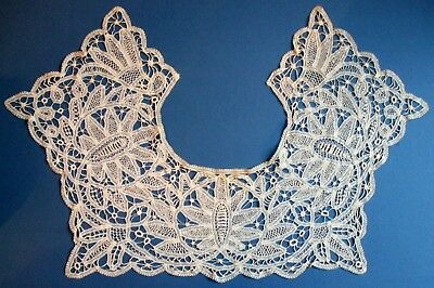 Antique Hand Made Battenberg Needle Lace Wide Collar