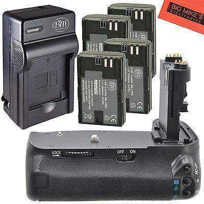BG-E9 Replacement Battery Grip for Canon EOS 60D + 4 LP-E6N Batteries + Charger