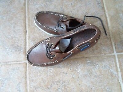 Leather Deck Shoes Made By Quayside Size 3/36 Razor Slip Soles