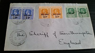 Cayman Islands 1917/19 Sg 56-57-59  War Stamps In Pairs Cover.
