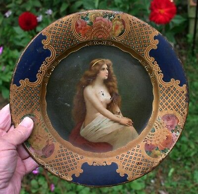 1905 Coca-Cola Image Tin Litho Advertising Tray Topless GirlL Vienna Art Plate