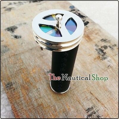 Vintage Brass Leather Wrapped Kaleidoscope Double Wheel Nickel Colored Gift