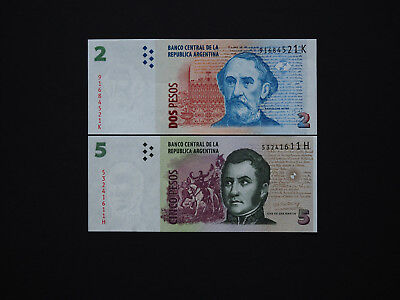 ARGENTINA BANKNOTES CLASSIC ISSUES  - Top Set of  2 and 5  Pesos    Mint UNC
