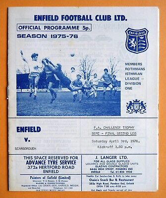 1975/1976 Enfield v Scarborough  - FA TROPHY SEMI-FINAL - 03/04/1976