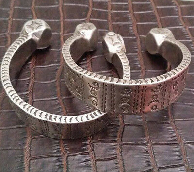 Antique Tribal Old Silver Bracelet Bangle Anklet Pair-North African Berber