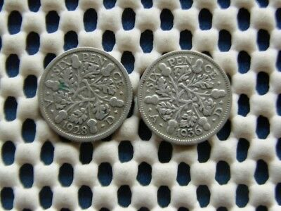 George V.  silver SIXPENCE 1928  & 1936.