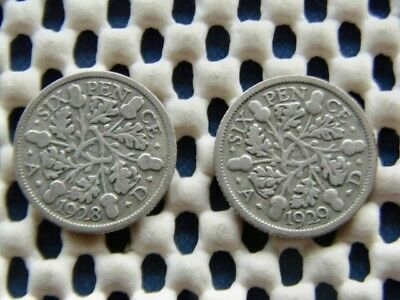 George V.  silver SIXPENCE 1928  & 1929.