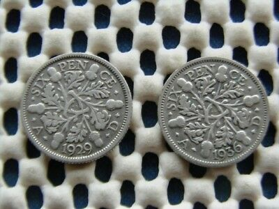 George V.  silver SIXPENCE 1936  & 1929.