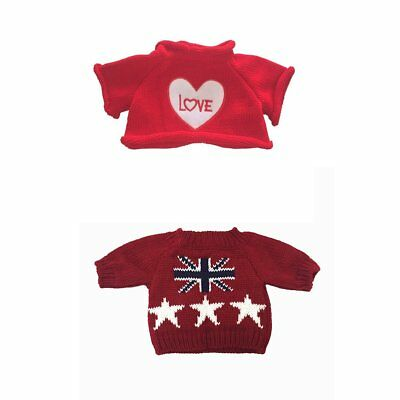 2 pcs for Teddy Bear Clothes The Red Sweater With a Heart T-shirt and Stars Fit