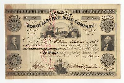 1853 The Erie and the North East Railroad Company Stock Certificate