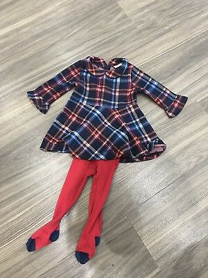 Baby Girls Gorgeous NEXT Tartan Dress/ Tights Set Size 6-9 Months Fab Condition