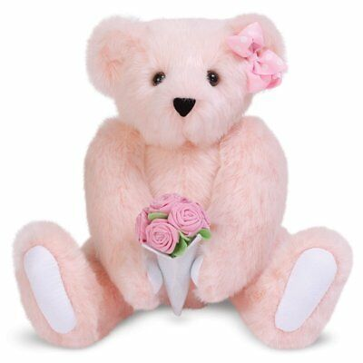 Vermont Teddy Bear - Classic Teddy Bear with Rose Bouquet, 15 inches, Pink - in