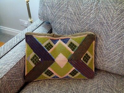 Vintage 1950s 1960s 1970s hand embroidered tapestry needlework cushion