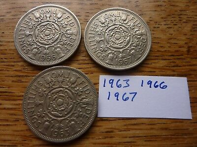 1963, 1966, 1967 Florins Two Shillings Coins, Birthday Dates!