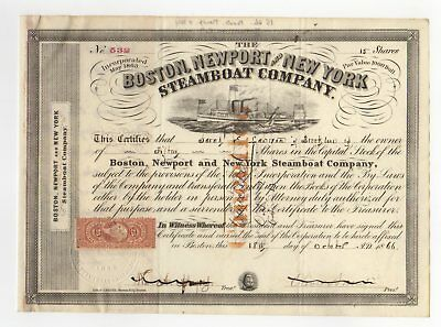 Oliver Ames - Boston, Newport and New York Steamboat Co. Stock Certificate