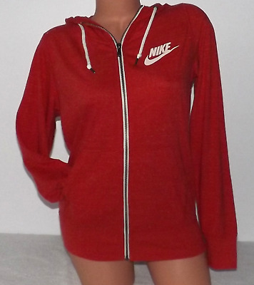 Nike Women's Gym Vintage Full Zip Hoodie Jacket Red 813872 657 NWT Size MEDIUM