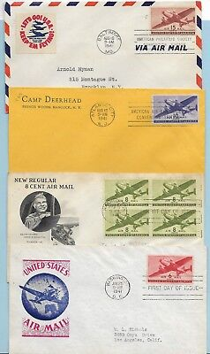 Transpoft airmail stamps, FDC complete, #C25-C31 various cachets, condition
