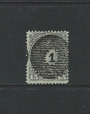 CANADA - #30 - 15c LARGE QUEEN VICTORIA WITH NO 1 SON GRID CANCEL (1868)