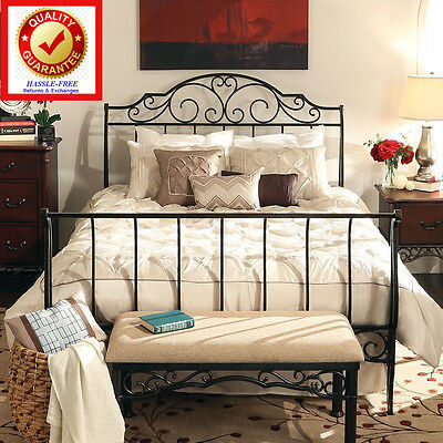 Cast Iron Sleigh Bed with Beautiful Traditional Victorian Head - QUEEN