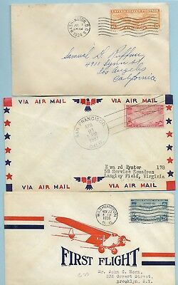Three airmail 'firsts' #C19 rate, #C20 FDC, #C22 first flight