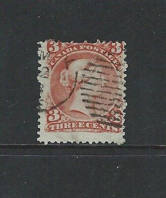 CANADA - #25 - 3c LARGE QUEEN VICTORIA WITH PART GRID CANCEL (1868)